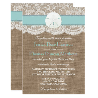 The Turquoise Sand Dollar Beach Wedding Collection Invitation