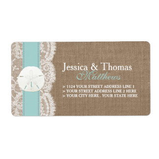 The Turquoise Sand Dollar Beach Wedding Collection Label