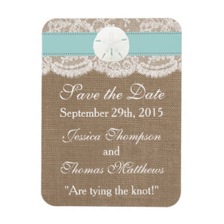 The Turquoise Sand Dollar Beach Wedding Collection Rectangular Photo Magnet