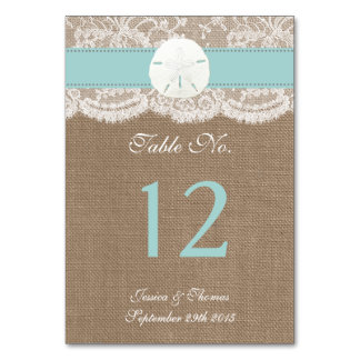 The Turquoise Sand Dollar Beach Wedding Collection Table Cards