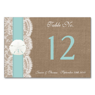 The Turquoise Sand Dollar Beach Wedding Collection Table Card