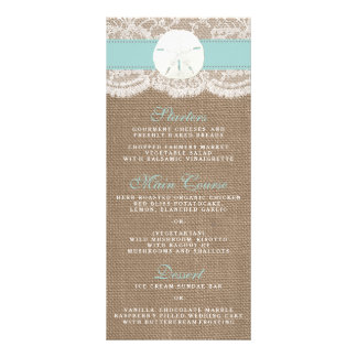 The Turquoise Sand Dollar Wedding Collection Menu