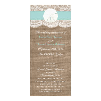 The Turquoise Sand Dollar Wedding Collection Rack Card