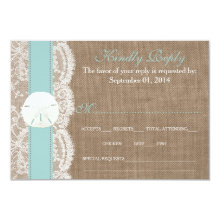 The Turquoise Sand Dollar Wedding Collection RSVP 3.5x5 Paper Invitation Card