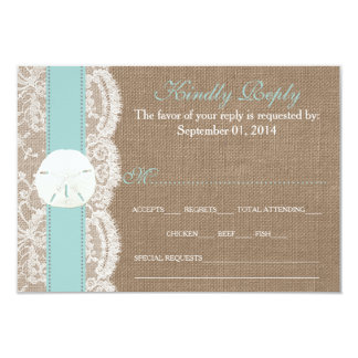 """The Turquoise Sand Dollar Wedding Collection RSVP 3.5"""" X 5"""" Invitation Card"""