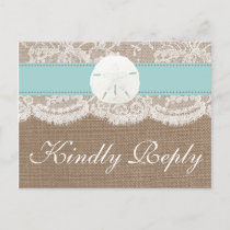 The Turquoise Sand Dollar Wedding Collection RSVP Invitation Postcard