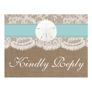 Invitation_Republic The Turquoise Sand Dollar Wedding Collection RSVP Postcard