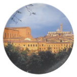 The Tuscan village of Sienna, Italy. Plate