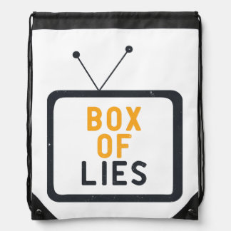 The Tv set is just a Box of lies Drawstring Backpack