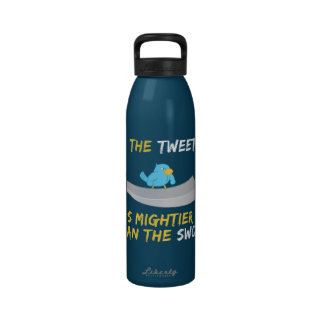 The Tweet is Mightier Than the Sword Drinking Bottle