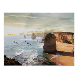 The Twelve Apostles beach view Australia Poster