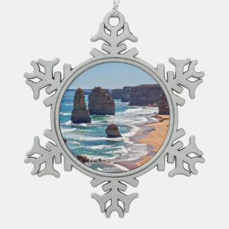 The Twelve Apostles, Victoria, Australia Snowflake Pewter Christmas Ornament