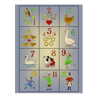 The Twelve Days of Christmas Song Poster Postcard