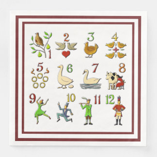 The Twelve Days of Christmas Your Border Color Paper Dinner Napkin
