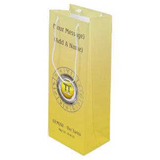 The Twins' Horoscope Symbol Wine Gift Bag