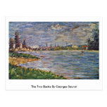 The Two Banks By Georges Seurat Postcard