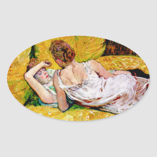 The Two Friends by Henri de Toulouse-Lautrec Oval Stickers
