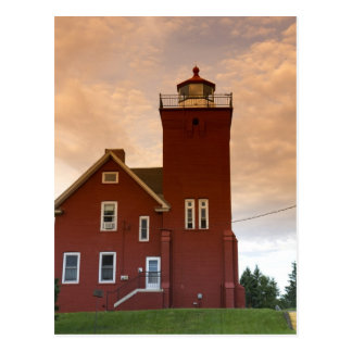 The Two Harbors Lighthouse overlooking Agate Bay Postcard
