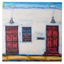 """The """"Two Red Doors"""" Decorative Tile"""