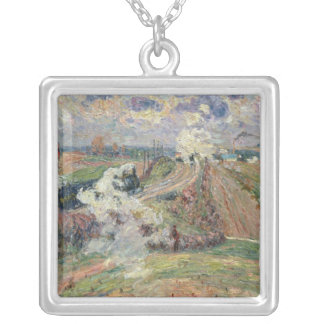 The Two Trains Silver Plated Necklace