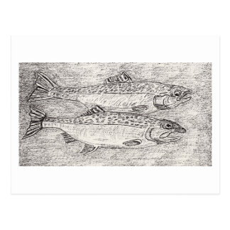 The Two Trout And Baby Trout Postcard