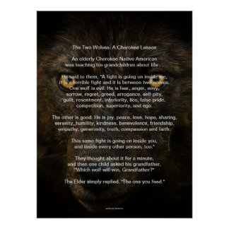 The TWO WOLVES CHEROKEE TALE Native American Print