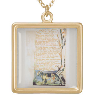 The Tyger, from Songs of Innocence Square Pendant Necklace