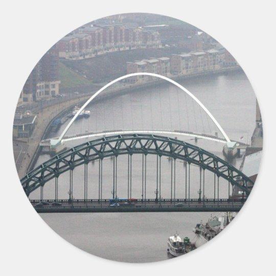 The Tyne Bridge and Millennium Bridge Classic Round Sticker