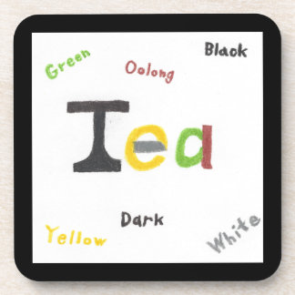 The Types of Tea Hard Plastic Coaster Set