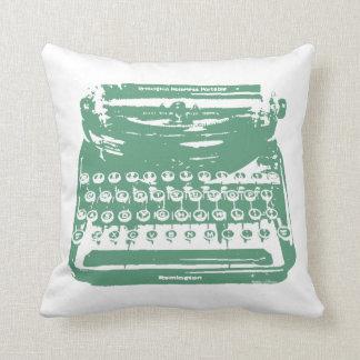 the typewriter - green throw pillow