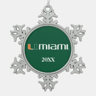 The U Miami Snowflake Pewter Christmas Ornament