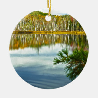The U. P.: Autumn Birch Tree Reflections Ceramic Ornament