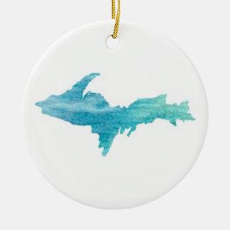 The U.P., Michigan's Upper Peninsula Ornament Aqua