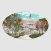 The U.S. Capitol Vintage Oval Sticker