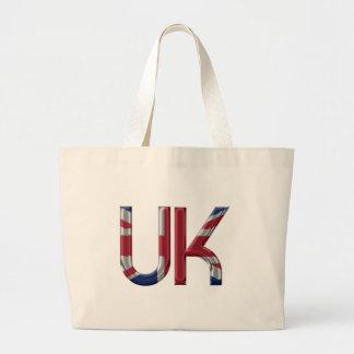 The UK Union Jack British Flag Typography Elegant Large Tote Bag