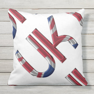 The UK Union Jack British Flag Typography Initials Outdoor Pillow