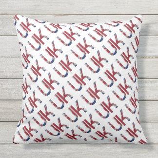 The UK Union Jack British Flag Typography Pattern Throw Pillow