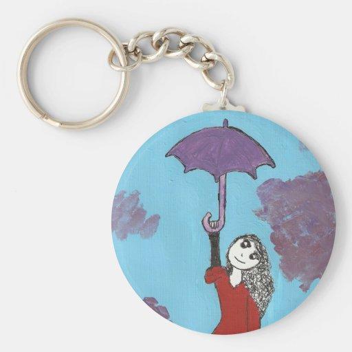 The Umbrella Girl Basic Round Button Keychain