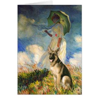 The Umbrella - (replace) - German Shepherd Greeting Card