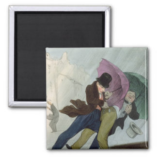 The Umbrella Trip, from 'Flibustiers Parisiens' 2 Inch Square Magnet