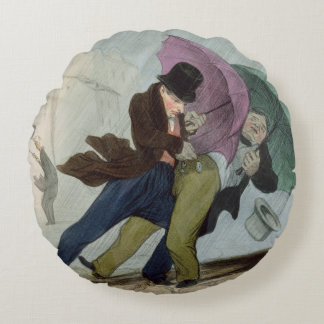 The Umbrella Trip, from 'Flibustiers Parisiens' Round Pillow