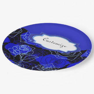 The Unattainable Blue Roses Floral Paper Plates
