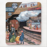 """The Underground, London"" Vintage Illustration Mouse Pad"