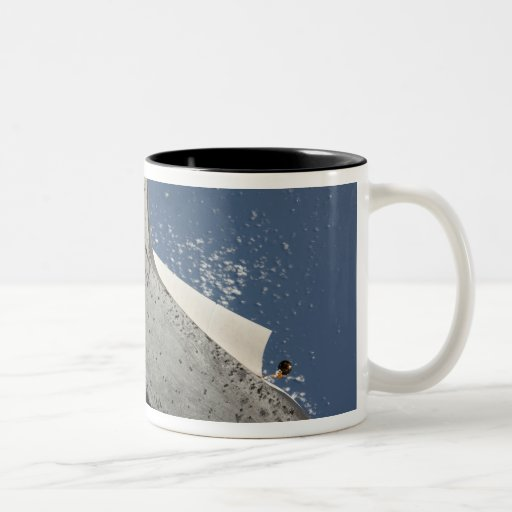 The underside of space shuttle Discovery 2 Two-Tone Coffee Mug