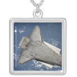 The underside of space shuttle Discovery 2 Square Pendant Necklace