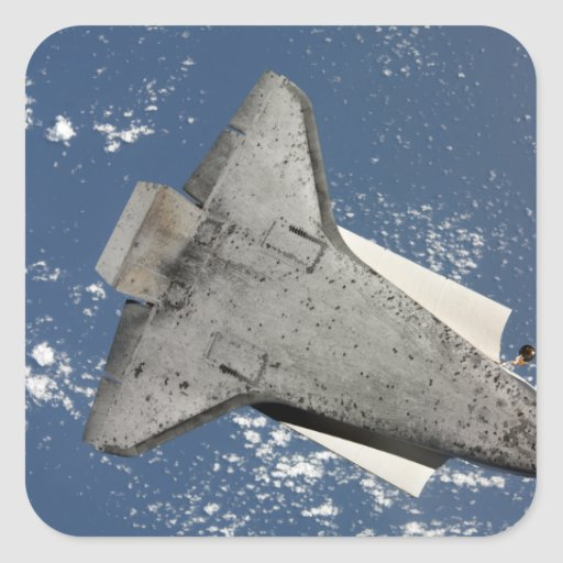 The underside of space shuttle Discovery 2 Square Sticker