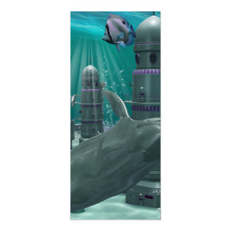 "The underwater city 4"" x 9.25"" invitation card"
