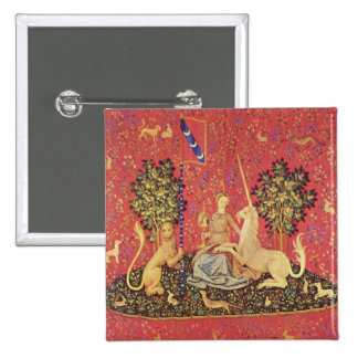 The Unicorn and Maiden Medieval Tapestry Image 2 Inch Square Button