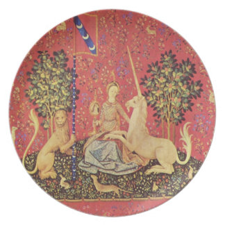 The Unicorn and Maiden Medieval Tapestry Image Dinner Plate