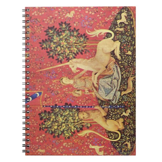 The Unicorn and Maiden Medieval Tapestry Image Notebook